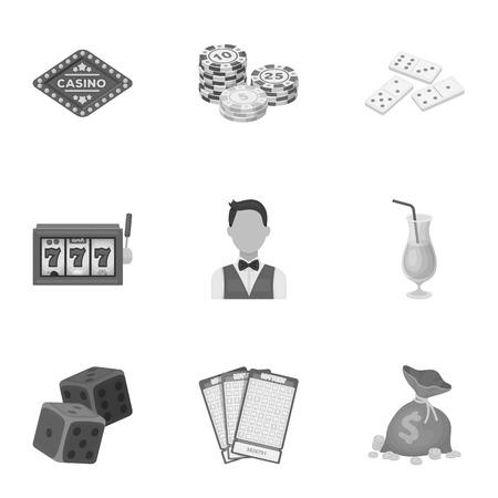 기호 카지노 게임의 집합입니다. 돈 도박. 칩, 도미노, 카지노. 카지노 및 도박 아이콘 흑백 스타일 벡터 기호 그림 설정 모음.