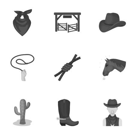 shawl: A set of pictures about cowboys. Cowboys on the ranch, horses, weapons, whips.Rodeo icon in set collection on monochrome style vector symbol stock illustration.