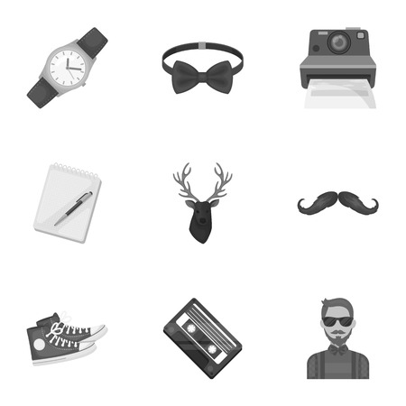 peculiar: A set of icons about the style of a hipster. A peculiar youth style. Hipster style icon in set collection on monochrome style vector symbol stock illustration. Illustration