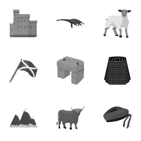 National symbols of Scotland. Scottish attractions. Scotland country icon in set collection on monochrome style vector symbol stock illustration. Illustration
