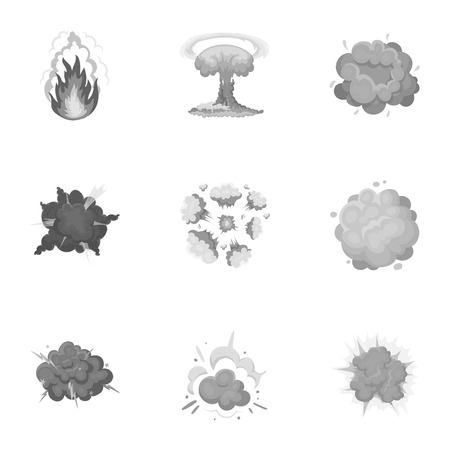 A set of icons about the explosion. Various explosions, a cloud of smoke and fire.Explosions icon in set collection on monochrome style vector symbol stock illustration. Illustration