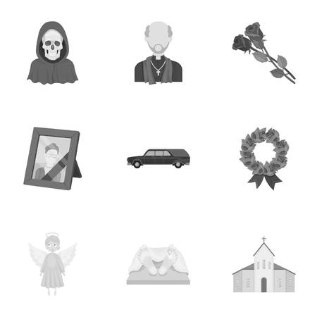 burial: Funeral ceremony, cemetery, coffins, priest.Funeral ceremony icon in set collection on monochrome style vector symbol stock illustration.