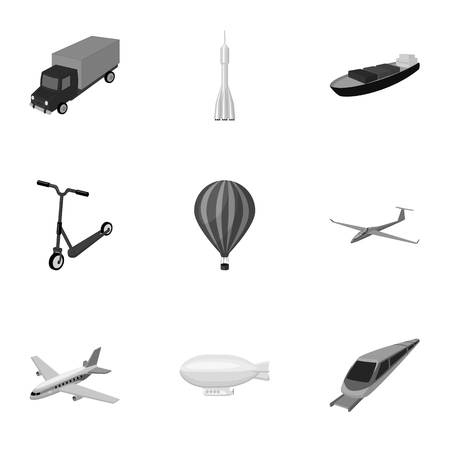 transporte terrestre: Set of pictures about types of transport. Transportation of people, cargo. Ground, underwater, air transport. Transport icon in set collection on monochrome style vector symbol stock illustration.