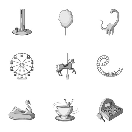 dinghy: The amusement Park rides. The attributes of a recreational Park, panic room, cotton candy.Amusement Park icon in set collection on monochrome style vector symbol stock illustration.