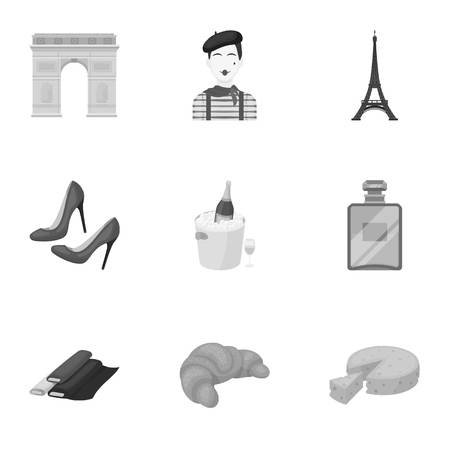 pail: Attractions in France. Things to learn about France. France country icon in set collection on monochrome style vector symbol stock illustration.