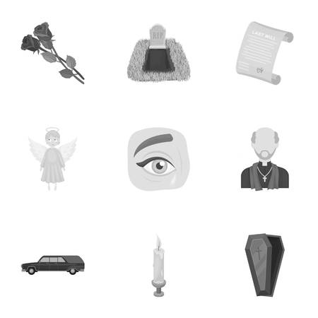 corpses: Funeral ceremony, cemetery, coffins, priest.Funeral ceremony icon in set collection on monochrome style vector symbol stock illustration.