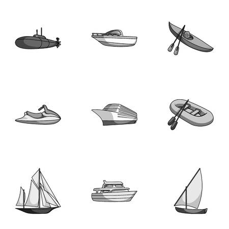 thunderstorms: Sea transport, boats, ships. To transport people, thunderstorms. Ship and water transport icon in set collection on monochrome style vector symbol stock illustration.