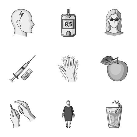 A set of icons about diabetes mellitus. Symptoms and treatment of diabetes. Diabetes icon in set collection on monochrome style vector symbol stock illustration. Illustration
