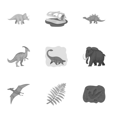 Ancient extinct animals and their tracks and remains. Dinosaurs, tyrannosaurs, pnictosaurs.Dinisaurs and prehistorical icon in set collection on monochrome style vector symbol stock illustration. Illustration