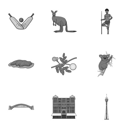 National symbols of australia. Web icon on Australia theme.Australia icon in set collection on monochrome style vector symbol stock illustration. Stock fotó