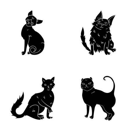 Turkse angora, Britse langharig en andere soorten. De kattenrassen plaatsen inzamelingspictogrammen in het zwarte Web van de de voorraadillustratie van het stijl vectorsymbool. Stock Illustratie