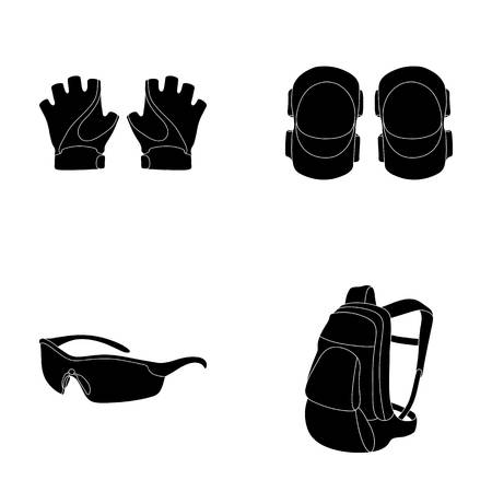 Gloves, elbow pads, goggles, cyclist backpack.Cyclist outfit set collection icons in black style vector symbol stock illustration web.