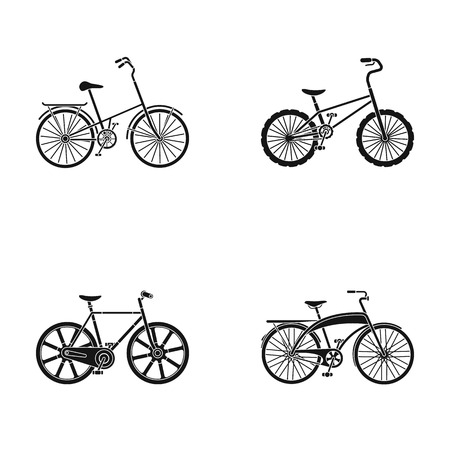 Childrens bicycle and other kinds.Different bicycles set collection icons in black style vector symbol stock illustration web.