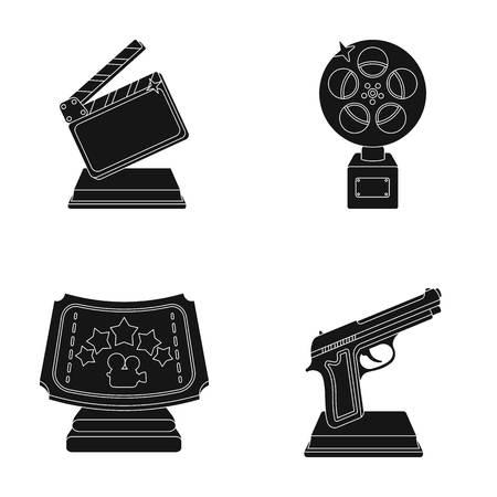 Gouden pistool, zilveren prijs voor de beste ondersteunende rol en andere prijzen. Film awards set collectie iconen in zwarte stijl vector symbool stock illustratie web. Vector Illustratie