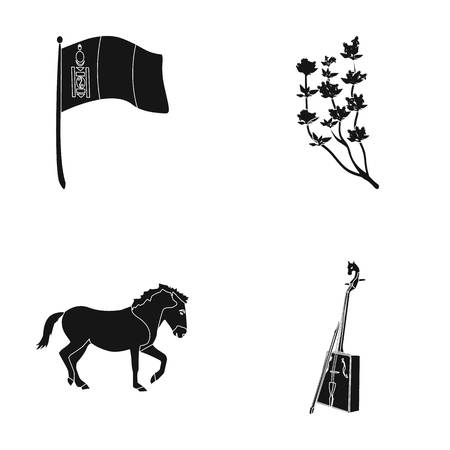 National flag, horse, musical instrument, steppe plant. Mongolia set collection icons in black style vector symbol stock illustration web. Illustration