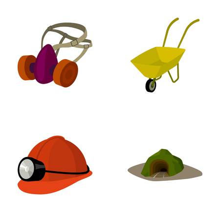 Headphones and raspirator, wheelbarrow, helmet with a lantern, the entrance to the mine.Mining industry set collection icons in cartoon style vector symbol stock illustration web.