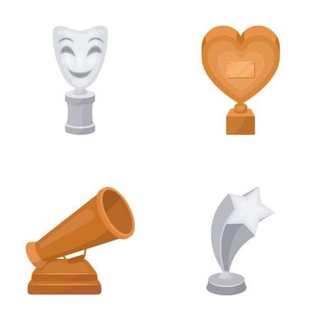 Máscara blanca Mime para el mejor drama, un premio en forma de corazón y otros premios. Los premios de cine establecen iconos de colección en estilo de dibujos animados vector símbolo stock ilustración web. Ilustración de vector