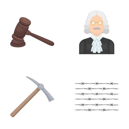 barrage: Judge, wooden hammer, barbed wire, pickaxe. Prison set collection icons in cartoon style vector symbol stock illustration web.