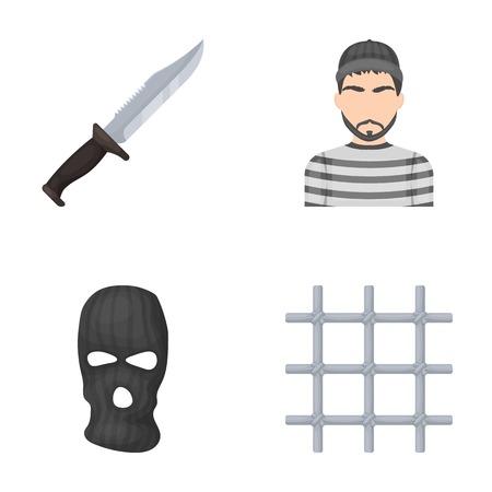 Knife, prisoner, mask on face, steel grille. Prison set collection icons in cartoon style vector symbol stock illustration web. Ilustração