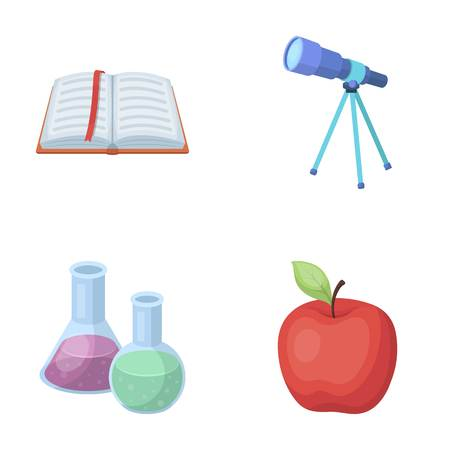 reagent: An open book with a bookmark, a telescope, flasks with reagents, a red apple. Schools and education set collection icons in cartoon style vector symbol stock illustration web.
