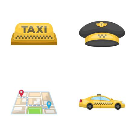 Yellow taxi inscription, a cap with a taxi badge, a map with a mark, a car with checkers. Taxi set collection icons in cartoon style vector symbol stock illustration web.