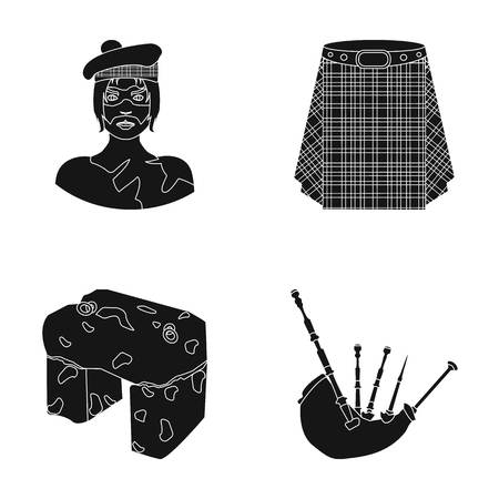 Highlander, Scottish Viking, tartan, kilt, scottish skirt, scone stone, national musical instrument of bagpipes. Scotland set collection icons in black style vector symbol stock illustration web.