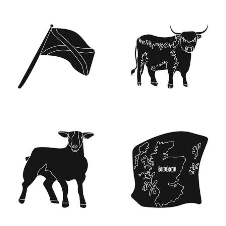 The state flag of Andreev, Scotland, the bull, the sheep, the map of Scotland. Scotland set collection icons in black style vector symbol stock illustration web. Illustration