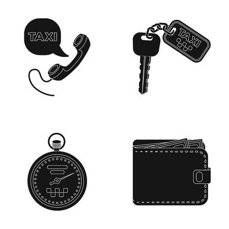 Handset with the inscription of a taxi, car keys with a key fob, a stopwatch with a fare, a purse with money, dollars. Taxi set collection icons in black style vector symbol stock illustration web.
