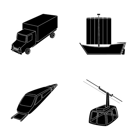 The truck, the boat, the subway, the funicular modes of transport. Transport set collection icons in black style vector symbol stock illustration web.