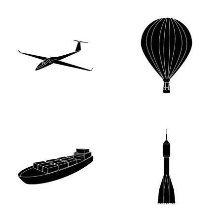 A drone, a glider, a balloon, a transportation barge, a space rocket transport modes. Transport set collection icons in black style vector symbol stock illustration web.