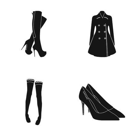 Womens high boots, coats on buttons, stockings with a rubber band with a pattern, high-heeled shoes. Womens clothing set collection icons in black style vector symbol stock illustration web.