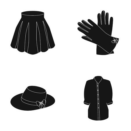 Skirt with folds, leather gloves, womens hat with a bow, shirt on the fastener. Womens clothing set collection icons in black style vector symbol stock illustration web.