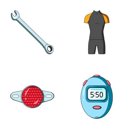 A wrench, a bicyclists bone, a reflector, a timer.Cyclist outfit set collection icons in cartoon style vector symbol stock illustration web.