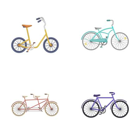 Childrens bicycle, a double tandem and other types.Different bicycles set collection icons in cartoon style vector symbol stock illustration web.