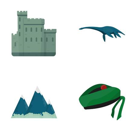Edinburgh Castle, Loch Ness Monster, Grampian Mountains, national cap balmoral,tam o'shanter. Scotland set collection icons in cartoon style vector symbol stock illustration web.