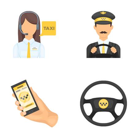 A taxi driver with a microphone, a taxi driver at the wheel, a cell phone with a number, a car steering wheel. Taxi set collection icons in cartoon style vector symbol stock illustration web.