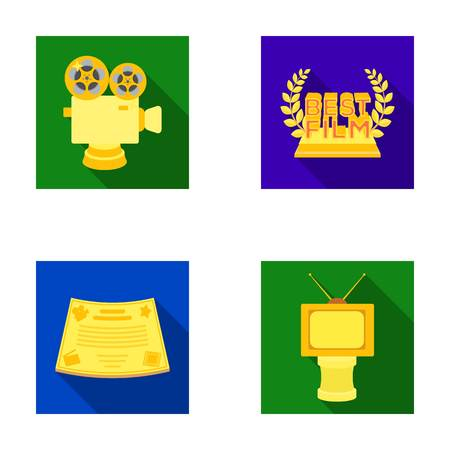 silver: Silver camera. A bronze prize in the form of a TV and other types of prizes.Movie award,sset collection icons in flat style vector symbol stock illustration web. Illustration