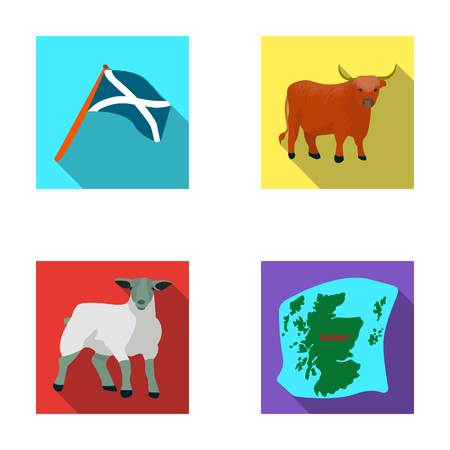 The state flag of Andreev, Scotland, the bull, the sheep, the map of Scotland. Scotland set collection icons in flat style vector symbol stock illustration web.