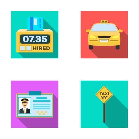 Der Counter des Fahrpreises im Taxi, das Taxi-Auto, das Fahrer-Abzeichen, der Parkplatz des Autos. Taxi-Set Sammlung Symbole in flachen Stil Vektor-Symbol stock Illustration Web.