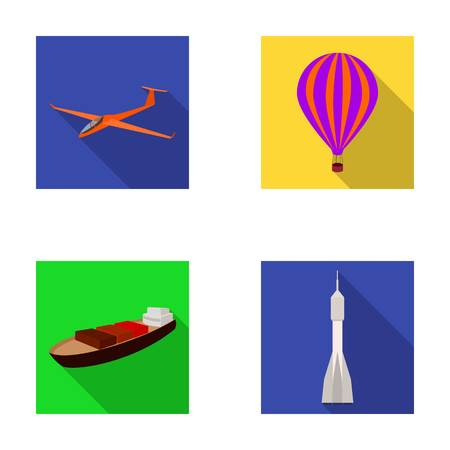 A drone, a glider, a balloon, a transportation barge, a space rocket transport modes. Transport set collection icons in flat style vector symbol stock illustration web.