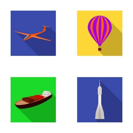 Un drone, un planeur, un ballon, une barge de transport, un mode de transport de fusée spatiale. Transport défini des icônes de la collection dans plat style vecteur symbole stock illustration web. Banque d'images - 80475907