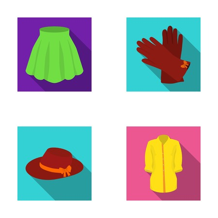 clasps: Skirt with folds, leather gloves, womens hat with a bow, shirt on the fastener. Womens clothing set collection icons in flat style vector symbol stock illustration web.