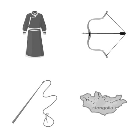 .mongol dressing gown, battle bow, theria on the map, Urga, Khlyst. Mongolia set collection icons in monochrome style vector symbol stock illustration web.