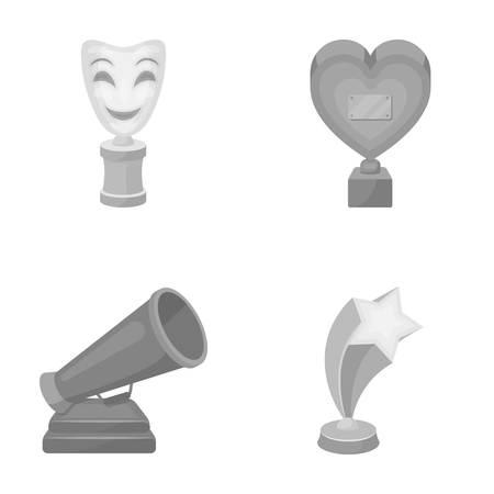 White Mask Mime voor het beste drama, een prijs in de vorm van het hart en andere prijzen. Film awards set collectie iconen in zwart-wit stijl vector symbool stock illustratie web.