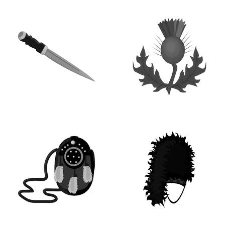National Dirk Dagger, Thistle National Symbol, Sporran,glengarry.Scotland set collection icons in monochrome style vector symbol stock illustration web.