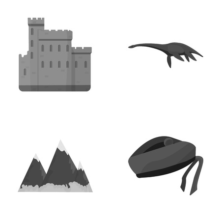 Edinburgh Castle, Loch Ness Monster, Grampian Mountains, national cap balmoral,tam o'shanter. Scotland set collection icons in monochrome style vector symbol stock illustration web.