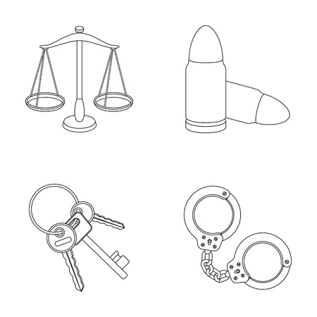 jail: Scales of justice, cartridges, a bunch of keys, handcuffs.Prison set collection icons in outline style vector symbol stock illustration web. Illustration