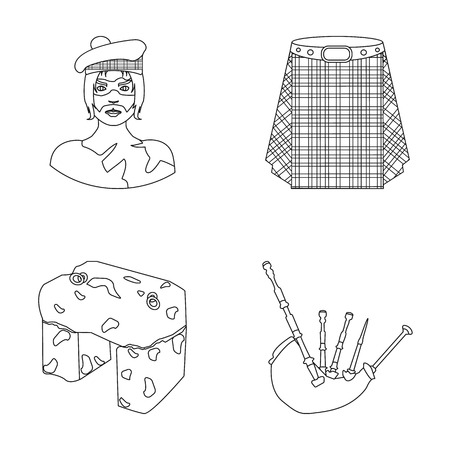Highlander, Scottish Viking, tartan, kilt, scottish skirt, scone stone, national musical instrument of bagpipes. Scotland set collection icons in outline style vector symbol stock illustration web.
