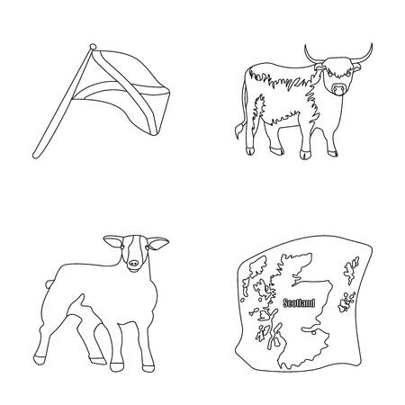 The state flag of Andreev, Scotland, the bull, the sheep, the map of Scotland. Scotland set collection icons in outline style vector symbol stock illustration web.