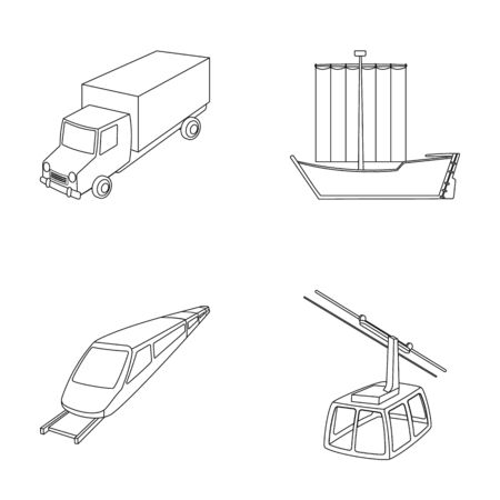 dinghy: The truck, the boat, the subway, the funicular modes of transport. Transport set collection icons in outline style vector symbol stock illustration web. Illustration